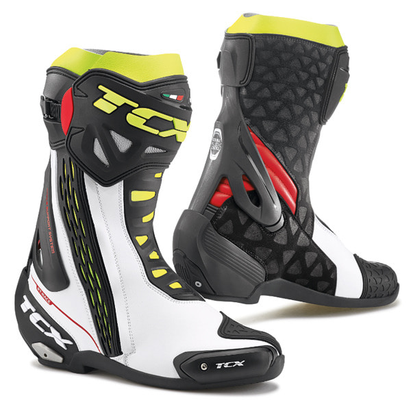 TCX RT-RACE BOOTS (WHITE-RED-YELLOW)
