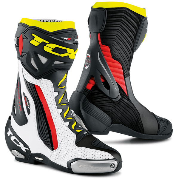 TCX RT-RACE PRO AIR BOOTS (WHITE/RED/YELLOW FLU)